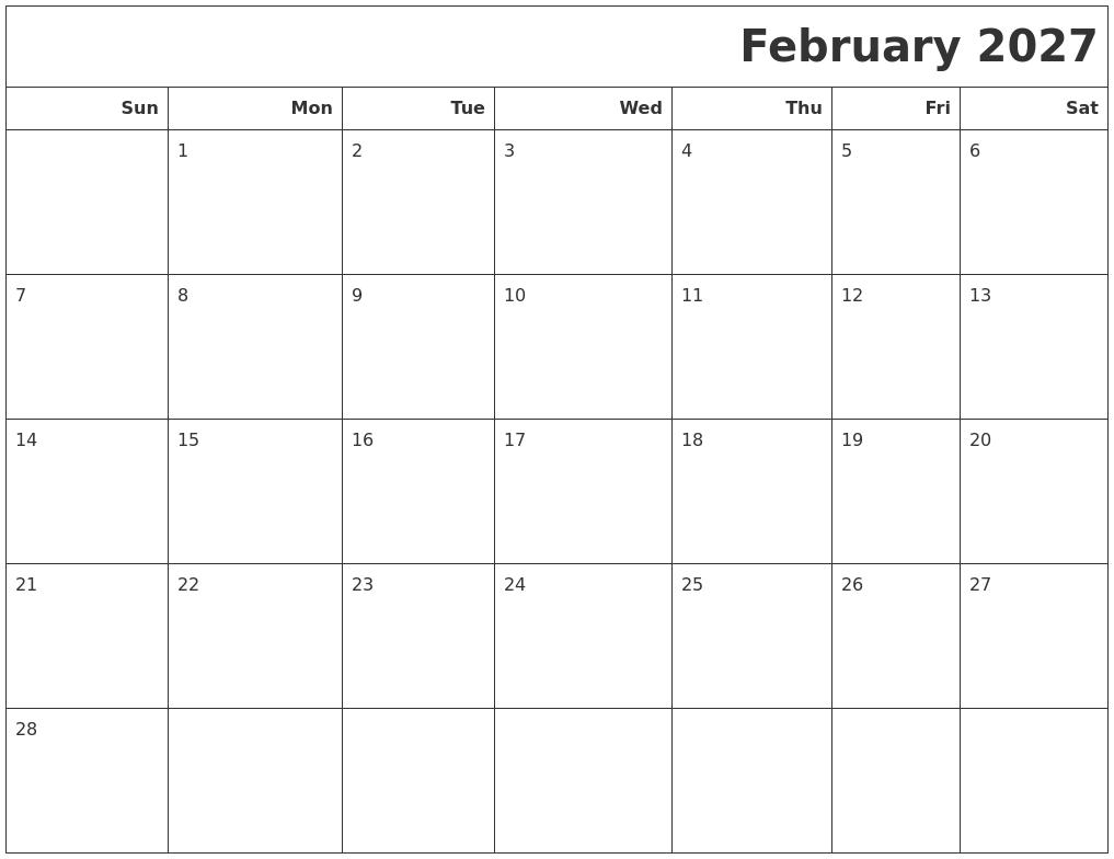 february 2027 calendars to print