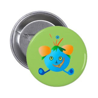 Funny Cartoon Character Button