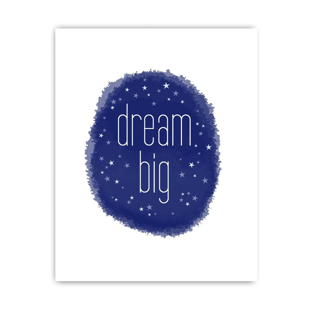 Dream Big Print - Navy Dark Gray Grey