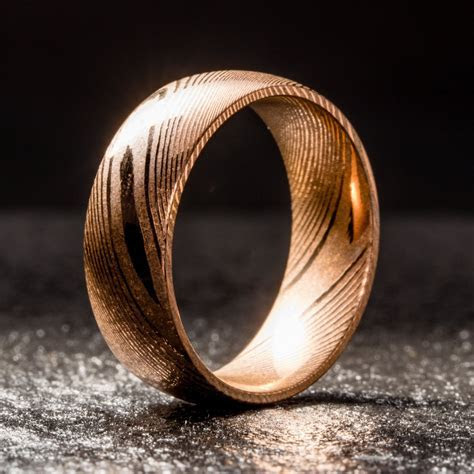 EMBR? Wood Grain Damascus Steel Ring   Minimalist