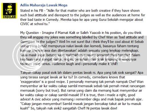 [Terbakor Hot] Adlin Aman Ramlie umum perang dengan Chef Wan dalam Facebook