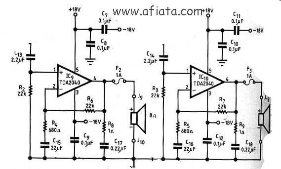 tda2040 amplifier circuit diagram