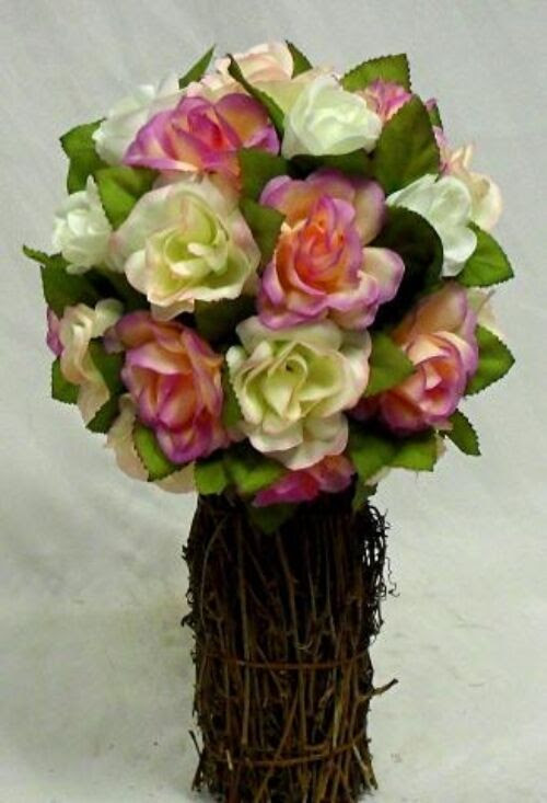 VICTORIAN PINK Rose TOPIARY Wedding Bouquet Silk Artificial Flower Centerpiece  eBay