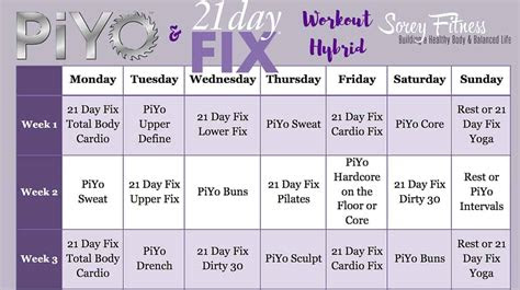 day fix piyo hybrid workout calendar