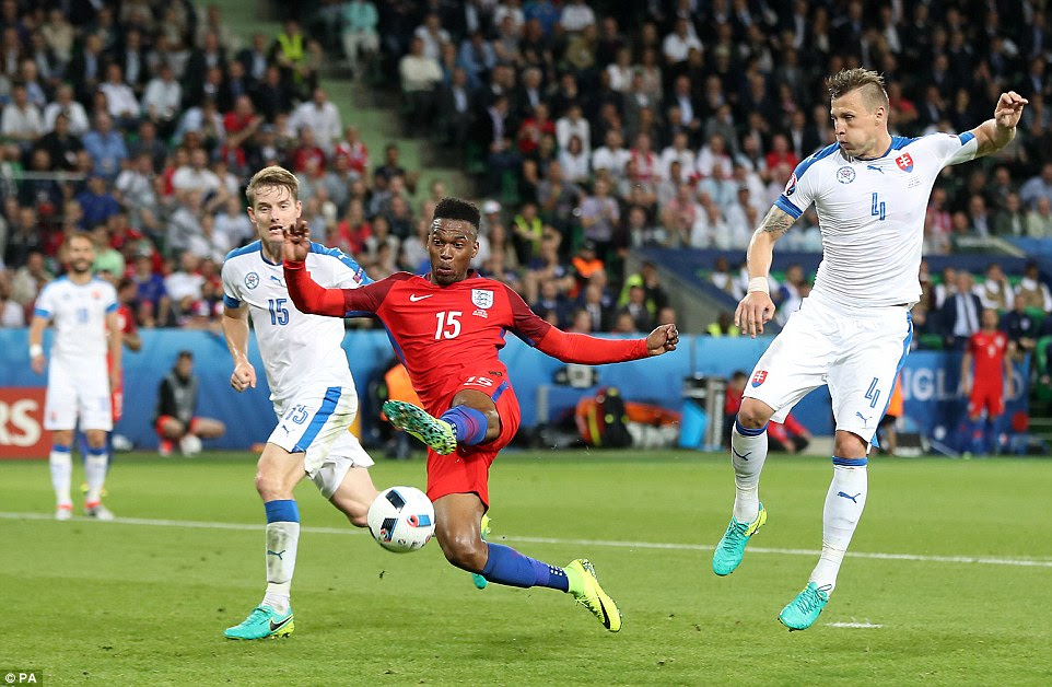 Daniel Sturridge was unable to get on the end of a wonderful pass from Dier to score the all-important first goal for England