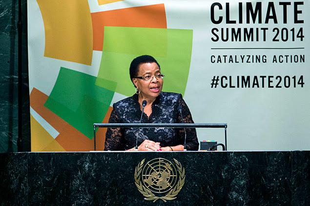 Graça Machel em encontro sobre o clima na ONU, em Nova York