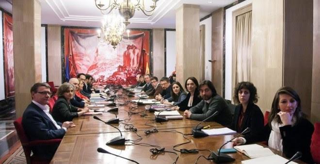 PSOE, Podemos, Compromis, IU, equipo negociador investidura Pedro Sánchez. E.P.
