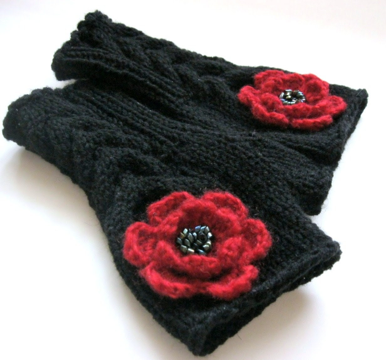 RED and BLACK...Fingerless Gloves with  flowers
