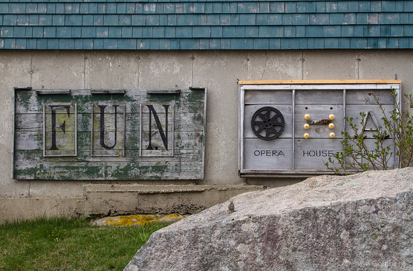 signs, at Opera House Arts in Stonington, Maine