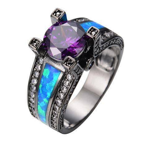 Vintage Purple Jewelry Ocean Blue Fire Opal Stone Women