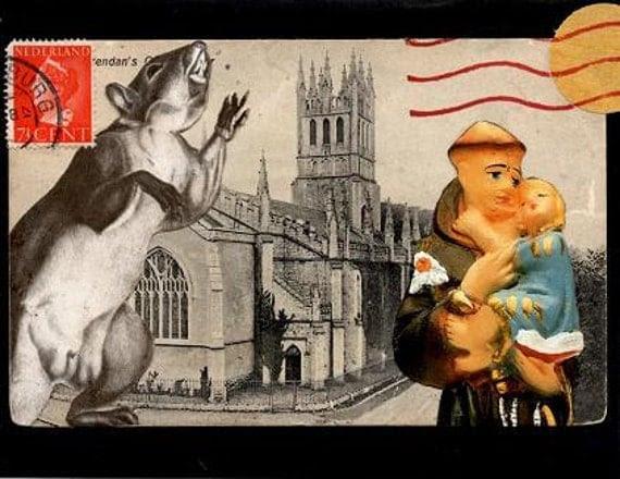 Squirrelasaurus Threatens St. Brendan's - Mail Art Envelope