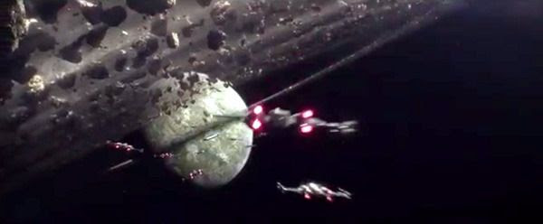 A squadron of X-Wings follow the Millennium Falcon into battle in STAR WARS: THE FORCE AWAKENS.