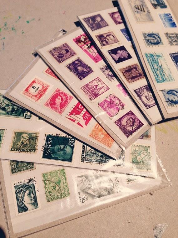 Vintage Postage Stamp Stickers - Set of 10
