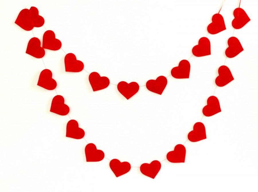 Red Heart Garland Wedding Shower Decoration Valentines Day Decor