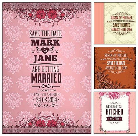 Pink wedding invitation cards vector   Free download