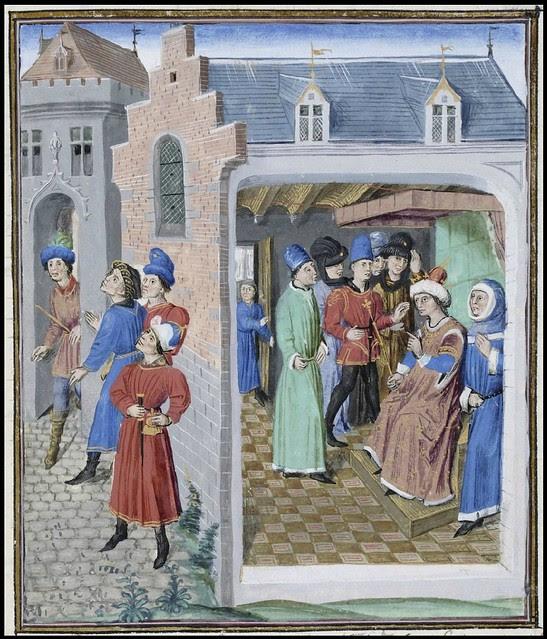15th century illuminated manuscript miniature: Henri de Ferrières, Les Livres du roy Modus et de la royne Ratio 284