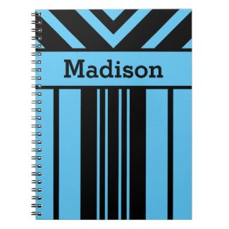 Black Stripes & Chevrons, Custom Name & Background Spiral Notebook