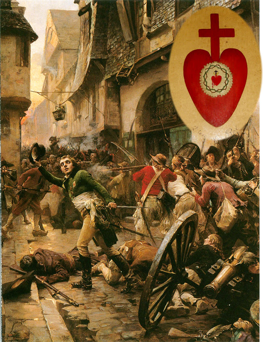 Because of his great influence in the Vendée region, the descendants of those Saint Louis de Montfort instructed would rise up to resist the horrors of the French Revolution. Their battle emblem was the Sacred Heart of Jesus.