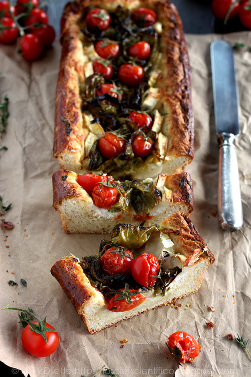 Brioche Tart with Roasted Peppers & Cherry Tomatoes, Goat Cheese and Thyme