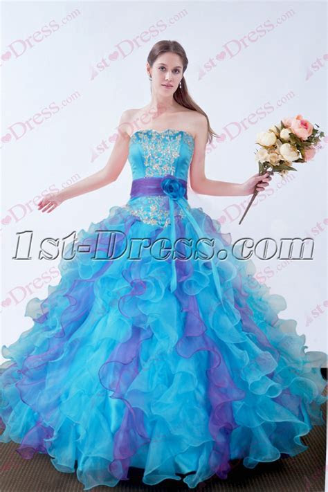 2016 Blue Quinceanera Dresses Fluffy Dress:1st dress.com
