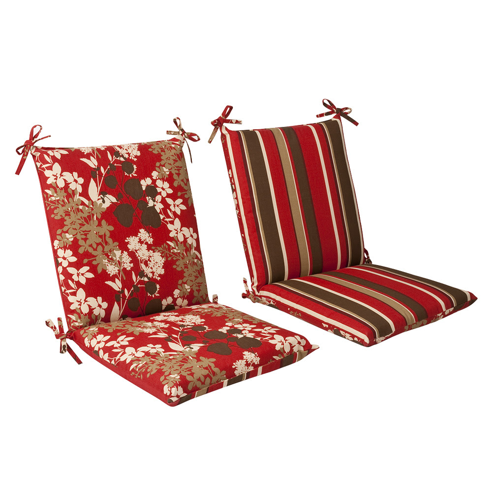 Red/Brown Floral/Striped Chair Cushion Squared Reversible ...