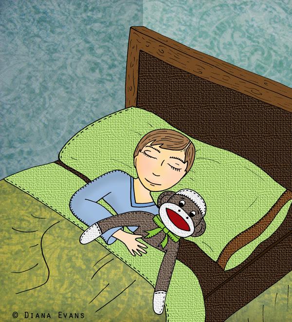 sleeping with my sock monkey
