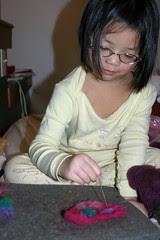 Olivia Needlefelting a Valentine's Day Heart