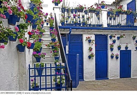 Spain, Cordoba, flowers on house balcony [241CMH00647]