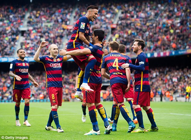 Neymar and Luis Suarez celebrate as Barcelona rattled in another goal - they have 109 in the league