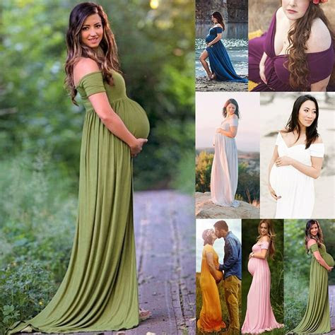 pregnant women photography dress maternity maxi gown