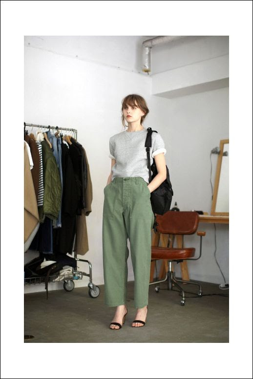 Le Fashion Blog Back To School Style Updo Hair Berry Lips Grey Tee Layered Over White Shirt Green Slouchy Trousers Black Low Heeled Sandals Via Life's