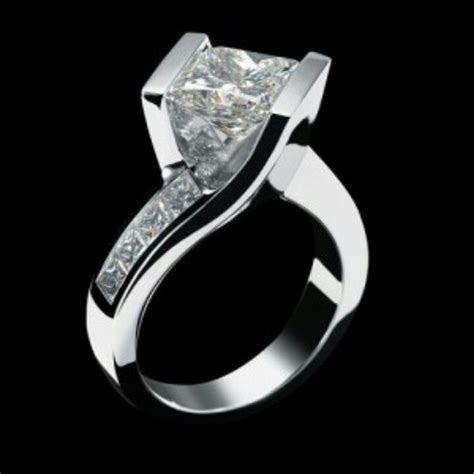 Tension set princess cut engagement ring   Dream Wedding