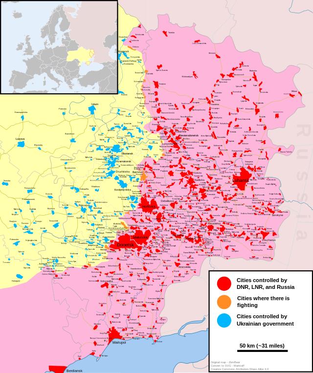 Situation actuelle (fin février 2015):-----------En rose et rouge: Territoires et villes contrôlés par les forces séparatistes pro-russesEn bleu: Localités contrôlées par les forces loyalistes ukrainiennesEn orange: Zones de combats / Villes disputées