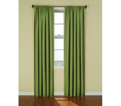 College Blackout Curtain Sunblock Drape Green Sunlight Block