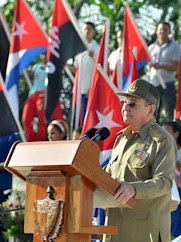 Republic of Cuba President Raul Castro addressing the July 26, 2012 rally in commemoration of the anniversary of the 1953 attack on the Moncado Barracks. Castro took over from his brother Fidel. by Pan-African News Wire File Photos