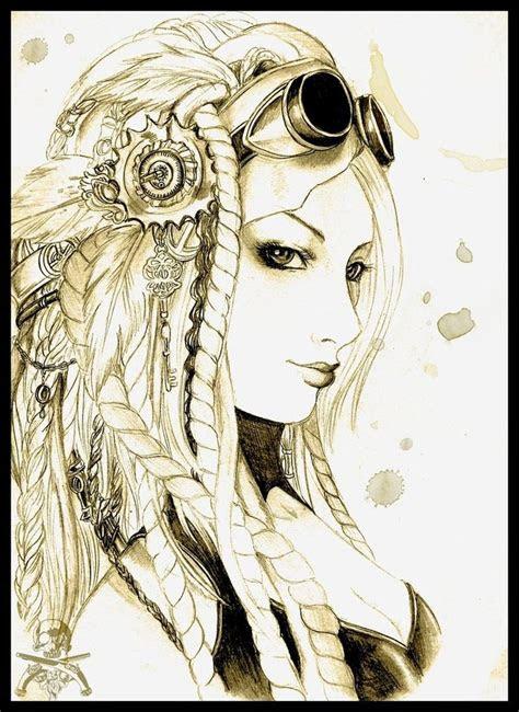 drawing  girl side profile steampunk pinterest