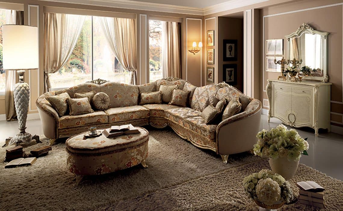 Large corner sofa, fabric covering, wooden frame ...
