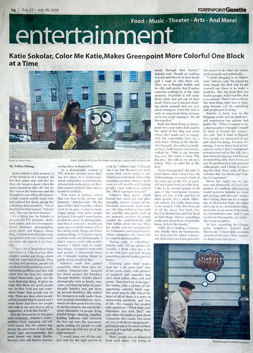 Color me Katie story in the Greenpoint Gazette