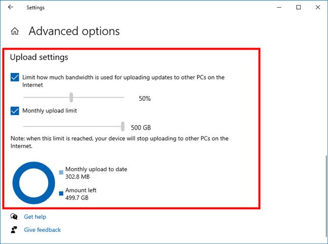 Ancho de banda Windows 10: límites de carga de Windows Update