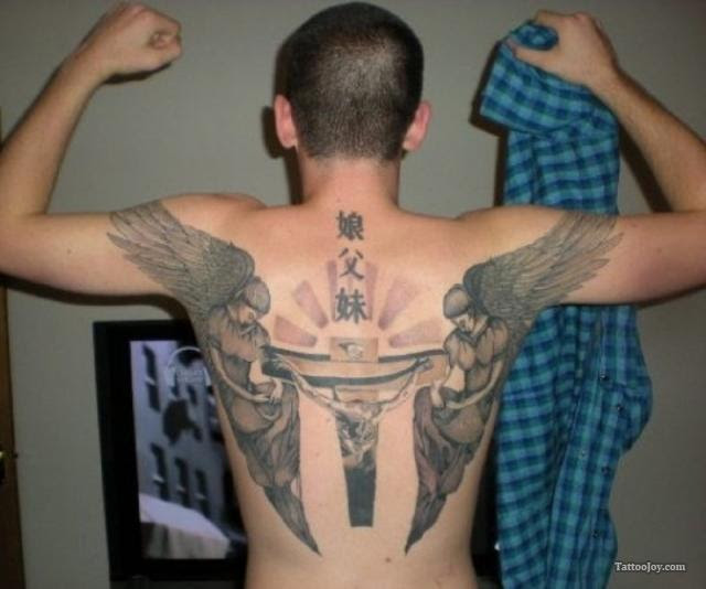 Grey Ink Winged Cross And Jesus Tattoo On Back
