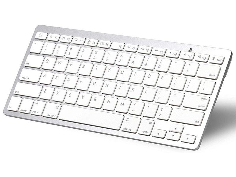 Slim Wireless Bluetooth Keyboard With 78 Keys White Silver Wireless Keyboards
