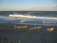 Late day surf at Loggerhead St in Nags Head cleaned by 40 mph straight offshore wind!