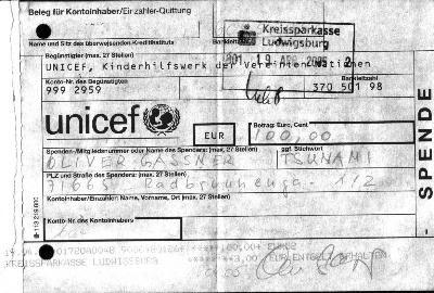 der 2. Spendenbeleg: Unicef, Tsunami, 19.4.2005