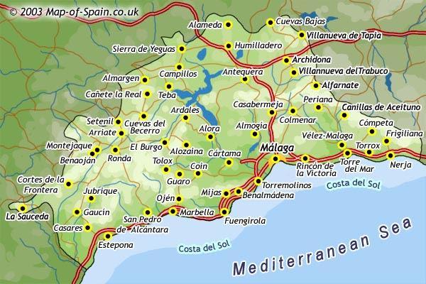 Mapa Provincia De Malaga Pueblos.Mapa Malaga Pueblos Mapa