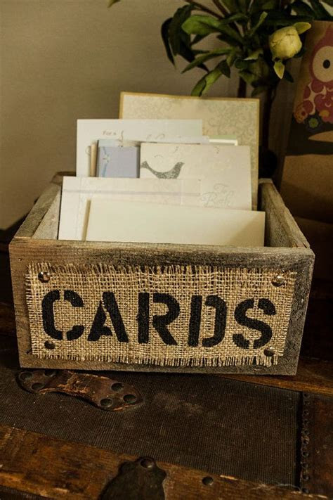 Burlap and Reclaimed Wood CARDS Box for Rustic Country