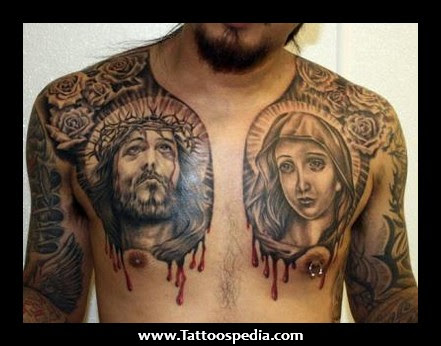 Dark Ink Jesus Christ And Mary Tattoos On Chest