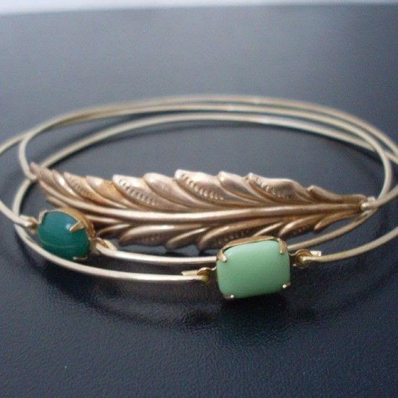 Loving these!   3 Bangle Bracelets Woodland  Gold Green by FrostedWillow on Etsy