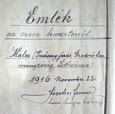 A Hungarian inscription on the inner endpaper of the evangeliary of Malecz (Kalocsa), 1916