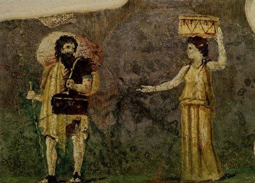 Supuestos Crates e Hiparquia en una pintura romana del siglo I del jardín de Villa Farnesina, Roma, Museo delle Terme