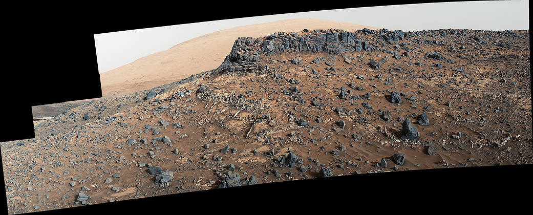 NASA's Curiosity Mars rover shows a site with a network of prominent mineral veins
